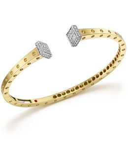18k White And Yellow Gold Pois Moi Chiodo Bangle With Diamonds