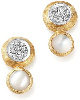 18k White And Yellow Gold Jaipur Climber Stud Earrings With Mother-of-pearl And Diamonds
