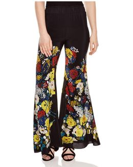 Blossom Silk Bell-bottom Pants