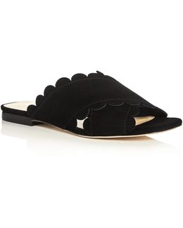 Ana Maria Suede Scalloped Slide Sandals