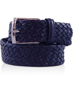 Tubular Leather Woven Belt