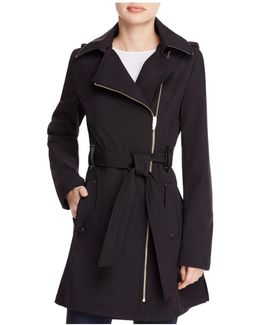 Asymmetric Front Belted Trench Coat