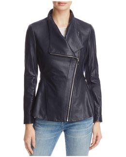Peplum-back Leather Moto Jacket