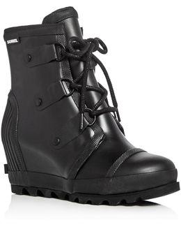 Joan Rain Waterproof Rubber Wedge Boots