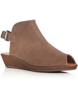 Lyla Embossed Peep Toe Demi Wedge Sandals