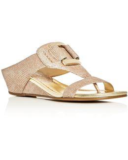 Duan Metallic Lizard-print Demi Wedge Sandals