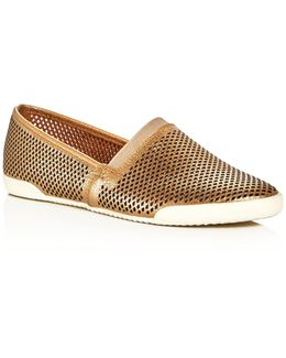 Melanie Metallic Perforated Slip-on Sneakers