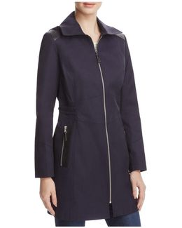 Infinity Faux Leather-trimmed Raincoat