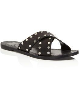 Casta Leather Studded Slide Sandals
