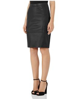 Avril Leather-front Pencil Skirt