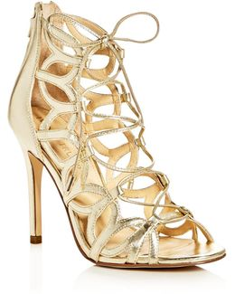 Hela Metallic Lace Up High Heel Sandals