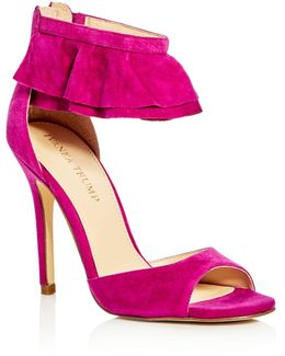 Herlle Ruffle Ankle Strap High Heel Sandals