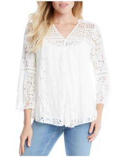 Mixed Lace Bell Sleeve Top