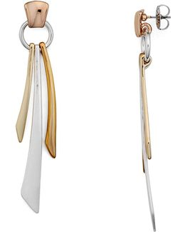 Tricolor Linear Drop Earrings