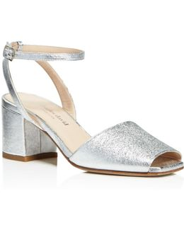 Cube Metallic Mid Block Heel Sandals
