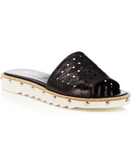 Space Perforated Studded Slide Sandals