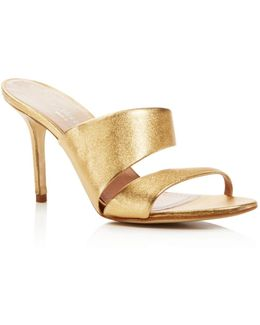 Status Metallic Leather High Heel Slide Sandals