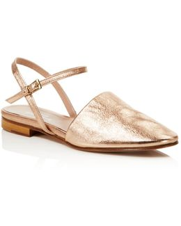Mellow Metallic Ankle Strap Flats