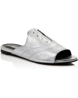 Smith Metallic Leather Oxford Slide Sandals