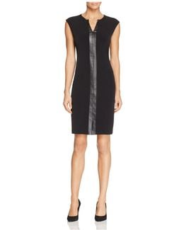 Faux Leather Trim Keyhole Sheath Dress