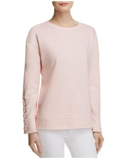 Miaya Lace-up Sleeve Sweatshirt