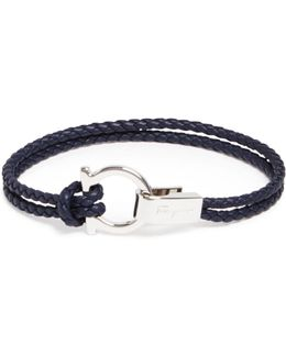 Braided Double Wrap Bracelet With Gancio Closure