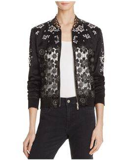 Brandy Embellished Bomber Jacket