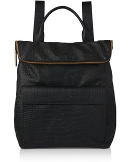 Verity Croc-embossed Leather Backpack