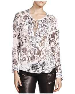 Printed Lace-up Top