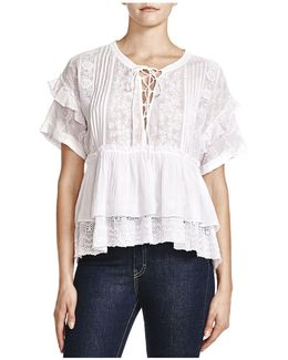 Embroidered Lace-up Shirt