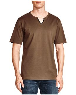 Notched Faux-leather Trim Tee