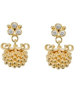 18k Yellow Gold Large Pod Drop Earrings With Diamonds