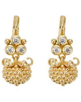 18k Yellow Gold Mini Pod Drop Earrings With Diamonds