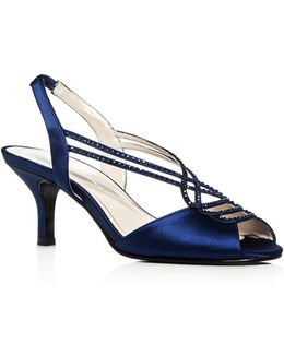 Philomena Satin Embellished Slingback Mid Heel Sandals