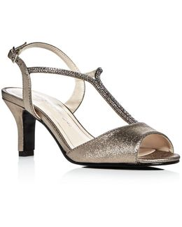 Delicia Metallic Satin Embellished Mid Heel Sandals