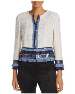 Cropped Sequin Fringe Jacket