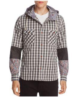 Patch-sleeve Hooded Sweatshirt