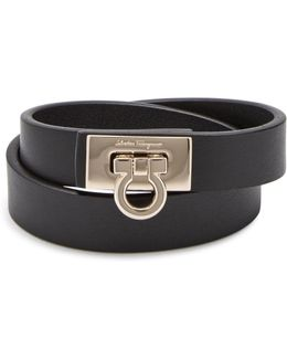 Ferragamo Gancini Leather Double Wrap Bracelet