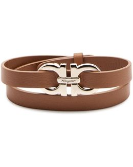 Ferragamo Double Gancini Leather Double Wrap Bracelet
