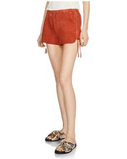 Ilan Lace-up Suede Shorts