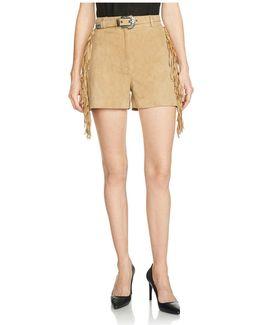 Izmir Fringe-trimmed Suede Shorts