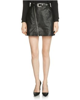 Jay Leather Belted Skirt