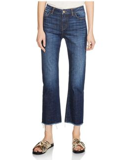 Parisse Cropped Flare Jeans In Blue