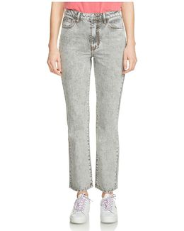 Perla Cropped Bootcut Jeans In Gray
