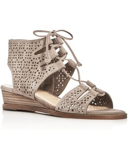 Retana Perforated Lace Up Demi Wedge Sandals