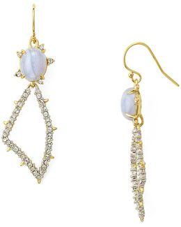 Swarovski Crystal-encrusted Pavé Petal Drop Earrings