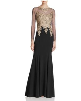 Embroidered-bodice Gown
