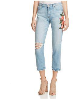 Slim Boyfriend Floral Embroidered Ankle Jeans In Brinley