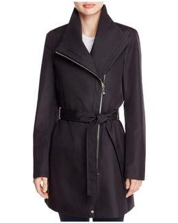 Asymmetric Front Zip Trench Coat