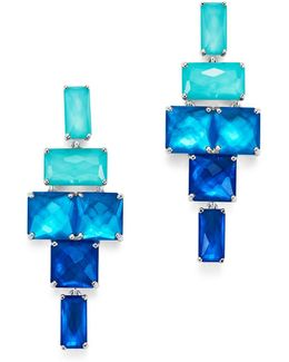 Sterling Silver Rock Candy® Stacked Rectangular Stone Earrings In Island